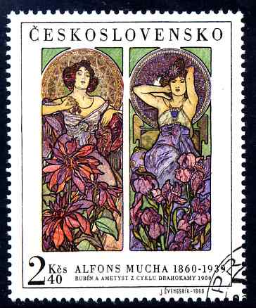 Czechoslovakia 1969 'Ruby and Amethyst' 2k40 from Women in Art fine used SG 1838