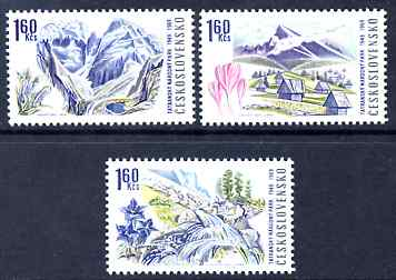 Czechoslovakia 1969 Tatra National Park the three 1k60 values (with Flowers) unmounted mint, SG 1846-48