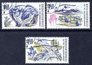 Czechoslovakia 1969 Tatra National Park the three 1k60 values (with Flowers) fine used, SG 1846-48