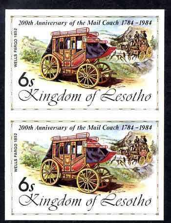 Lesotho 1984 Wells Fargo Coach 6s (from 'Ausipex' Stamp Exhibition set) imperf pair unmounted mint as SG 599