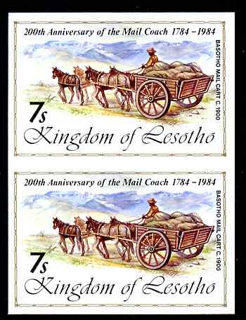 Lesotho 1984 Basuto Mail Cart 7s (from 'Ausipex' Stamp Exhibition set) imperf pair unmounted mint as SG 600