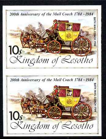 Lesotho 1984 Bath Mail Coach 10s (from 'Ausipex' Stamp Exhibition set) imperf pair unmounted mint as SG 601