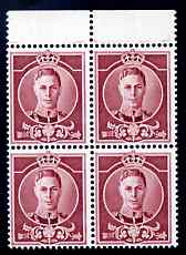 Great Britain 1937 KG6 Waterlow full-face undenominated essay in claret, perf block of 4 unmounted mint