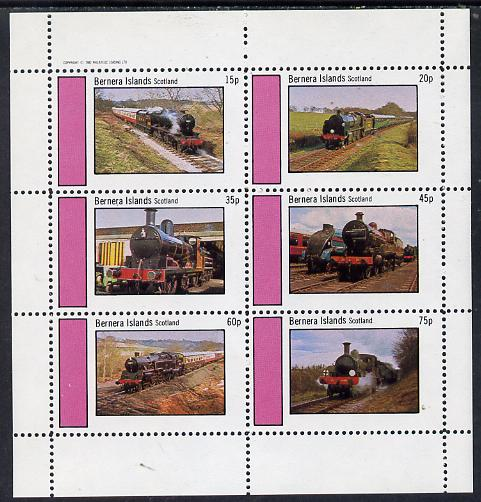 Bernera 1982 Steam Locos #04 perf set of 6 values (15p to 75p) unmounted mint