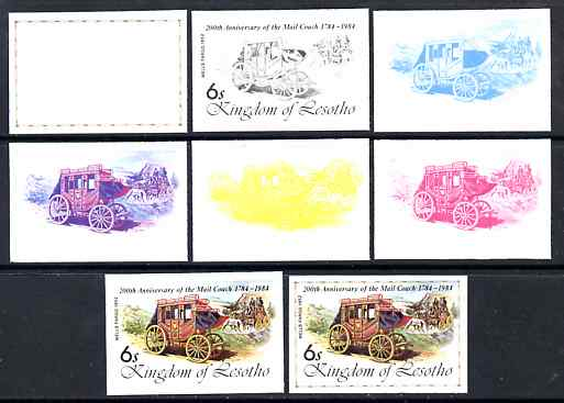 Lesotho 1984 Wells Fargo Coach 6s (from 'Ausipex' Stamp Exhibition set) the set of 8 imperf progressive proofs comprising the 5 individual colours plus 2, 4 and all 5-colour composites, scarce with only 28 proof sets believed to exist, as SG 599