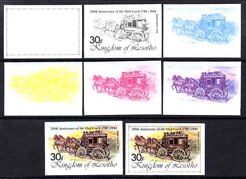 Lesotho 1984 Cobb Coach 30s (from 'Ausipex' Stamp Exhibition set) the set of 8 imperf progressive proofs comprising the 5 individual colours plus 2, 4 and all 5-colour composites, scarce with only 28 proof sets believed to exist, as SG 602