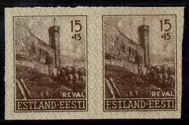 Estonia - German Occupation 1941 Long Hermann Tower 15+15 (k) sepia from Reconstruction set, imperf pair on ungummed paper, as SG 6