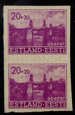 Estonia - German Occupation 1941 Stone Bridge 20+20 (k) bright purple from Reconstruction set, imperf pair on ungummed paper, as SG 7