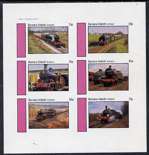 Bernera 1982 Steam Locos #04 imperf set of 6 values (15p to 75p) unmounted mint