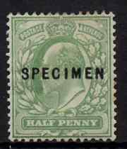 Great Britain 1902-11 KE7 1/2d yellow-green overprinted with SPECIMEN (type 22) fine mounted mint, SG spec M2t/3s cat \A3200