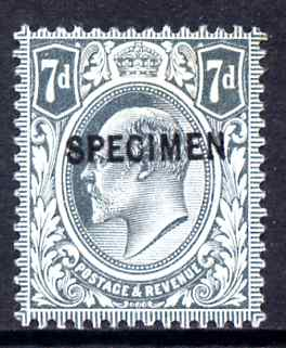 Great Britain 1902-11 KE7 7d grey-black overprinted with SPECIMEN (type 26) fine mounted mint, SG spec M38s (ex NPM archives) cat \A3250