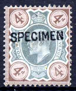 Great Britain 1902-11 KE7 4d green & brown overprinted with SPECIMEN (type 16) fine mounted mint, SG spec M23s (ex NPM archives) cat \A3300