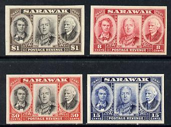 Sarawak 1946 Centenary set of 4 imperf proofs in issued colours (ex BW archives) minor wrinkles but unmounted mint