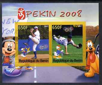 Benin 2007 Beijing Olympic Games #09 - Baseball (3) imperf s/sheet containing 2 values (Disney characters in background) unmounted mint. Note this item is privately produced and is offered purely on its thematic appeal