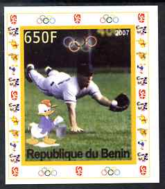 Benin 2007 Baseball #03 individual imperf deluxe sheet with Olympic Rings & Disney Character unmounted mint