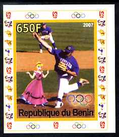 Benin 2007 Baseball #04 individual imperf deluxe sheet with Olympic Rings & Disney Character unmounted mint