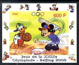 Benin 2008 Disney Characters playing Baseball #01 individual imperf deluxe sheet with Olympic Rings unmounted mint. Note this item is privately produced and is offered purely on its thematic appeal