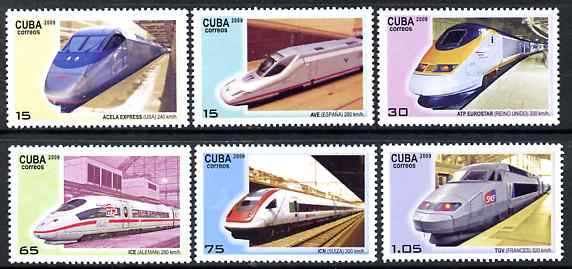 Cuba 2009 High Speed Trains perf set of 6 unmounted mint, stamps on , stamps on  stamps on railways