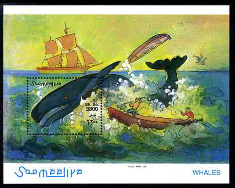 Somalia 1999 Whales perf m/sheet unmounted mint. Note this item is privately produced and is offered purely on its thematic appeal Michel BL64