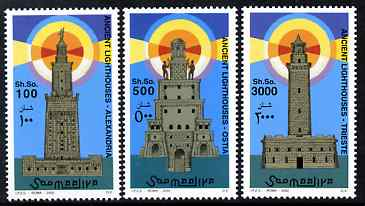 Somalia 2002 Lighthouses perf set of 3 unmounted mint. Note this item is privately produced and is offered purely on its thematic appeal Michel 976-8