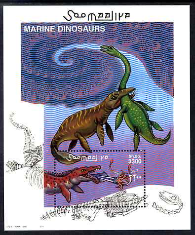 Somalia 2000 Marine Dinosaurs perf m/sheet unmounted mint. Note this item is privately produced and is offered purely on its thematic appeal Michel BL 71