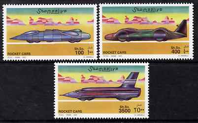 Somalia 2001 Rocket Cars perf set of 3 unmounted mint. Note this item is privately produced and is offered purely on its thematic appeal Michel 860-62