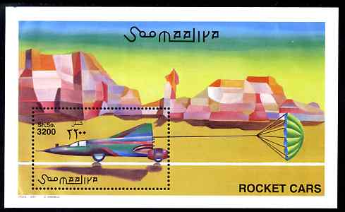 Somalia 2001 Rocket Cars perf m/sheet unmounted mint. Note this item is privately produced and is offered purely on its thematic appeal Michel BL 75