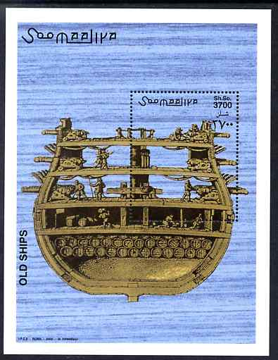 Somalia 2002 Old Sailing Ships perf m/sheet unmounted mint. Note this item is privately produced and is offered purely on its thematic appeal Michel BL 97