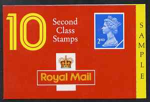 Booklet - Great Britain 1990 Booklet cover proof 10x 2nd class (no stamps) with SAMPLE printed in side panel