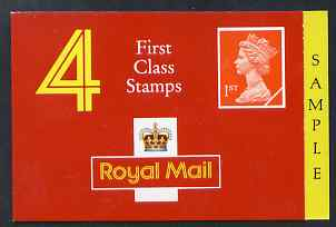 Booklet - Great Britain 1990 Booklet cover proof 4x 1st class (no stamps) with SAMPLE printed in side panel
