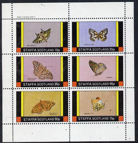 Staffa 1982 Butterflies (Swallowtail, Monarch, Orange Tip, etc) perf set of 6 values (15p to 75p) unmounted mint