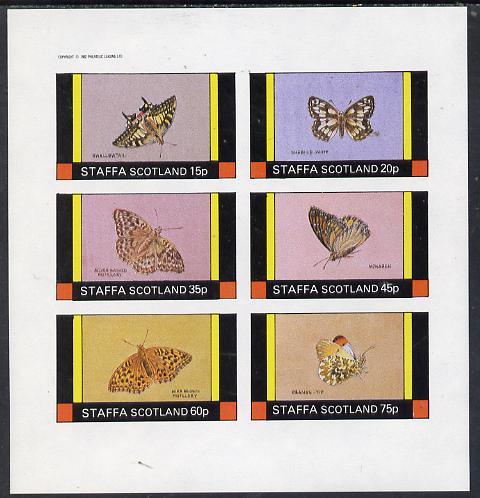 Staffa 1982 Butterflies (Swallowtail, Monarch, Orange Tip, etc) imperf set of 6 values (15p to 75p) unmounted mint