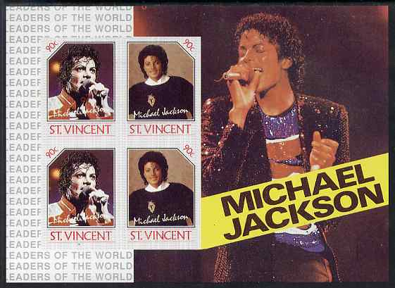 St Vincent 1985 Michael Jackson m/sheet containg 4 x 90c values imperf from limited printing unmounted mint as SG MS 948b