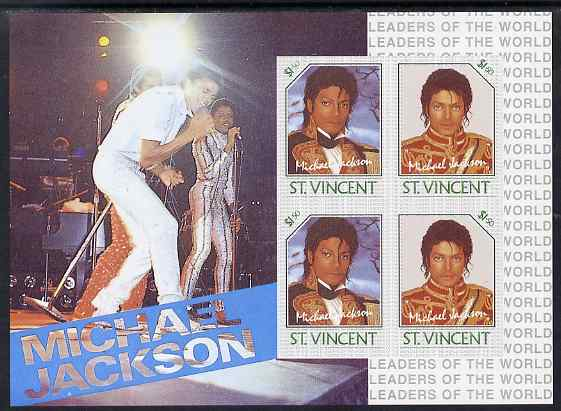 St Vincent 1985 Michael Jackson m/sheet containg 4 x $1.50 values imperf from limited printing unmounted mint as SG MS 948c
