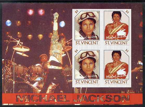 St Vincent 1985 Michael Jackson m/sheet containg 4 x $4.00 values imperf from limited printing unmounted mint as SG MS 948d