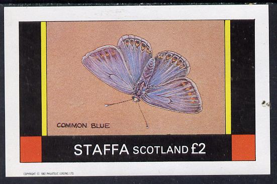 Staffa 1982 Butterflies (Common Blue) imperf deluxe sheet (�2 value) unmounted mint, stamps on butterflies