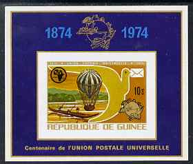 Guinea - Conakry 1974 Centenary of UPU imperf m/sheet (showing Balloon) from a limited printing unmounted mint as SG 862a