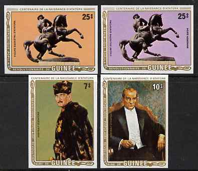 Guinea - Conakry 1982 Birth Centenary of Kemal Ataturk (Turkish Statesman) imperf set of 4 from limited printing unmounted mint SG 1051-4