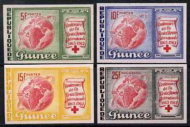 Guinea - Conakry 1963 Centenary of Red Cross imperf set of 4 from limited printing unmounted mint as SG 404-7
