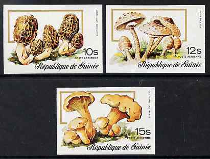 Guinea - Conakry 1977 Mushrooms the 3 Air values imperf from limited printing unmounted mint as SG 917-9