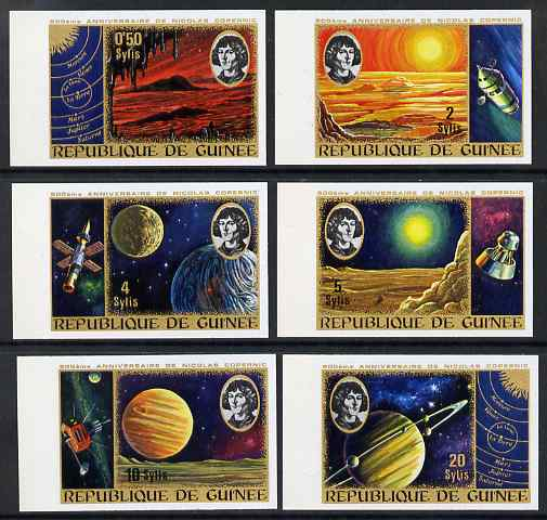 Guinea - Conakry 1973 500th Birth Anniversary of Copernicus imperf set of 6 from limited printing unmounted mint as SG 836-41