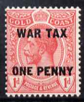 Gold Coast 1918 War Tax KG5 1d on 1d red unmounted mint SG 85