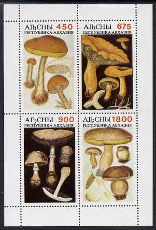 Abkhazia 1997 Mushrooms perf sheetlet containing complete set of 4 values unmounted mint, stamps on fungi