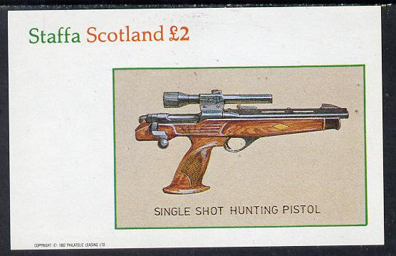 Staffa 1982 Pistols (Hunting Pistol) imperf deluxe sheet (�2 value) unmounted mint
