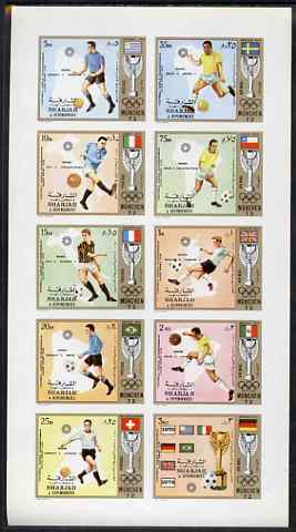 Sharjah 1972 Football (Jules Rimet Cup) imperf set of 10 unmounted mint, Mi 1142-51B