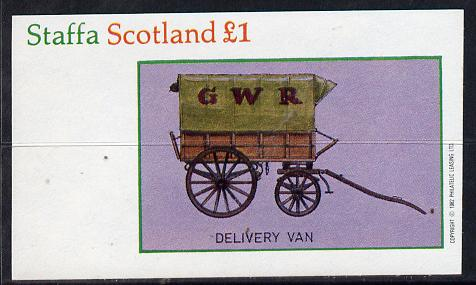 Staffa 1982 Horse Drawn Wagons (GWR   Delivery Van) imperf souvenir sheet (�1 value) unmounted mint