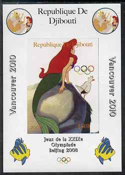 Djibouti 2008 Beijing & Vancouver Olympics - Disney - The Little Mermaid imperf deluxe sheet #2 unmounted mint. Note this item is privately produced and is offered purely on its thematic appeal