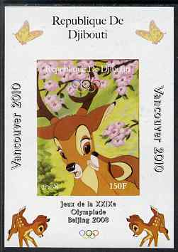 Djibouti 2008 Beijing & Vancouver Olympics - Disney - Bambi imperf deluxe sheet #2 unmounted mint. Note this item is privately produced and is offered purely on its thema...