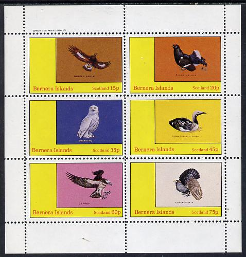 Bernera 1982 Birds #12 (Golden Eagle, Snowy Owl, Grouse etc) perf set of 6 values (15p to 75p) unmounted mint