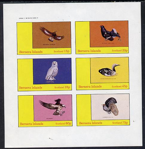 Bernera 1982 Birds #12 (Golden Eagle, Snowy Owl, Grouse etc) imperf set of 6 values (15p to 75p) unmounted mint